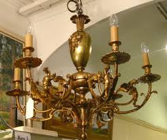 victorian brass chandelier with griffins
