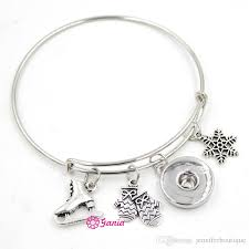newest whole interchangeable snap jewelry snowflake gloves ice skate charms adjule expandable wire snap bangles bracelets jewelry bead bracelets