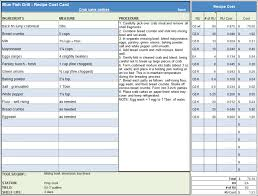 Restaurant Costs Spreadsheet Menu Recipe Cost Template Exampleset ...