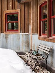 metal roof skirting reclaimed corrugated metal makes totally proof exterior wainscoting that helps protect the