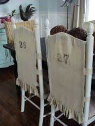 love those numbered burlap slipcovers