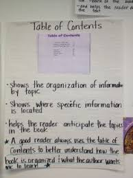 Table Of Contents Chart Non Fiction Table Of Contents Text Features First Grade