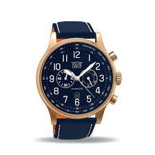 men s aviator watch rose gold case blue dial chronograph zoom