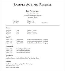 Resume Template Sample Adorable Sample Acting Resume Template Resume Samples Printable Actress