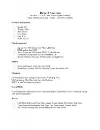 Acting Resume Format Musical Theatre Resume Template Free