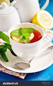 Indonesian Table Setting Tea Lemon Mint On Blue Background Stock Photo 294323672 Shutterstock