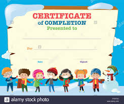 Children Certificate Template Certificate Template With Happy Children In Winter Illustration