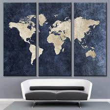 modern navy blue world map canvas painting for room decor  travel