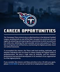 tennessee titans employment opportunities about us contact us · code of conduct · faqs · privacy policy · employment