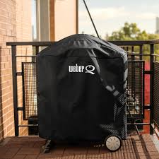 Weber 7113 Premium Grill Cover With Storage Bag For Q 100/1000 Or 200/2000  Series Gas Grills On Cart