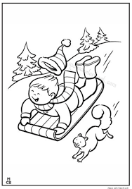 Small Picture kid Sledding on snow winter coloring page