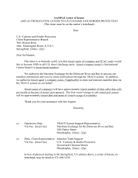 Sample Ams Authorization Letter To Us Customs And Border Protection