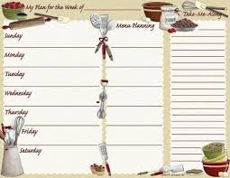 one week menu planner menu weekly planners with list pad posies and such