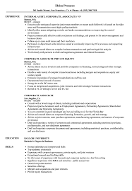Corporate Associate Resume Samples Velvet Jobs