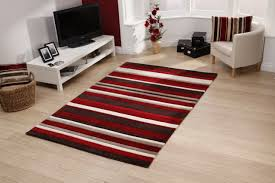 red and tan striped rug