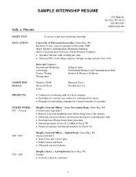 Resume Sample Objective For Internship Resume Best Inspiration