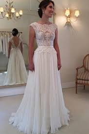 a line lace top backless long beach wedding dress ball gowns