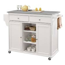 acme tullarick stainless steel top mobile kitchen island in white 98307