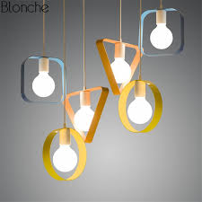 modern colorful geometry pendant lights led iron hanglamp square ring triangle rectangle lamp living room light fixtures decor ceiling lamp shades lantern
