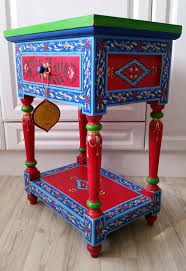 stunning hand painted pport to india wooden side l bedside table folk art in home furniture diy furniture tables ebay