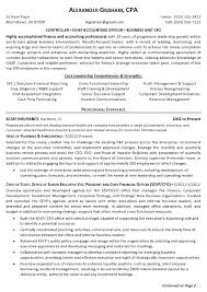 Business Resumes Template Stunning Gallery Of Resume Sample 48 Controller Chief Accounting Officer