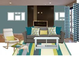 fantastic blue accent wall ideas in living room colorful striped fabric rug blue chevron pattern fabric