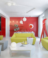 Home Designs: Yellow Living Room Red Accents - Angular Seating