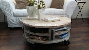 pallet round coffee table with storage