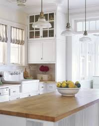 white country kitchen with butcher block. Kitchen Island Pendant Lighting, White Country With Butcher Block