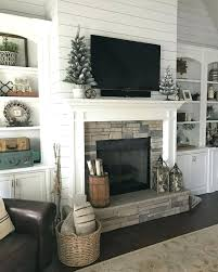 build fireplace mantel over stone mantle shelves makeover diy wood on