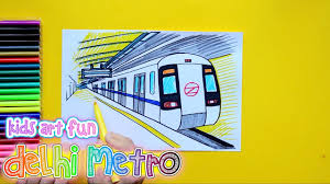 subway train sketch. Delighful Train How To Draw And Color Delhi Metro Subway Train At Station Intended Sketch Y