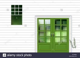 Grüne Modren Eingangstür Mit Fenster Fassade Haus Eingang Vektor