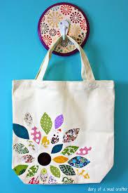 Mad By Design Bags Flower Scrap Fabric Bag Using Heat N Bond A Tutorial Diy