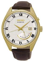 <b>Часы Seiko Сейко</b> SRN074P1 Kinetic 100m Белые Золотые ...