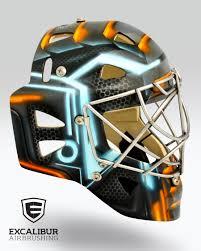 tron goalie mask designed and airbrushed by ian johnson