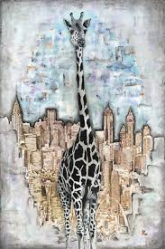 "Giraffe in the City by Jaime Rice, SIGNED, 13"" x 19"" Paper Print 