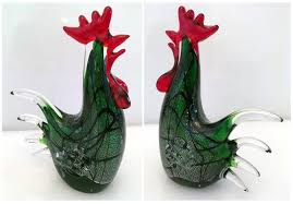 vintage murano glass rooster green red and 13 similar items s l1600