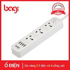 Giá bán Ổ CẮM ĐIỆN ĐA NĂNG BAGI 3 Ổ CẮM 4 USB DÂY DÀI 2M