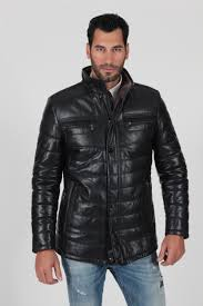 men s black padded and quilted genuine fur lining real leather jacket leatherconnection real leather jackets and furs