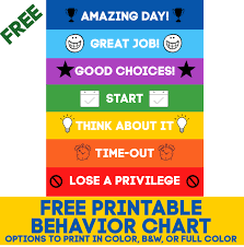 I could see printing from a word doc and then adhering the the colored paper as well. Printable Behavior Chart Free Download 10 More Free Printables Domestic Superhero