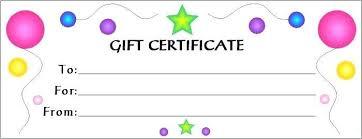 Gift Certificate Printable Free Free Printable Blank Gift Certificates Photo Birthday