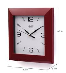 red plastic square shape wall clock