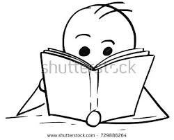 cartoon stick man ilration of boy or man reading a book