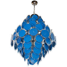 large 84 murano sapphire and clear glass disc chandelier manner of vistosi for