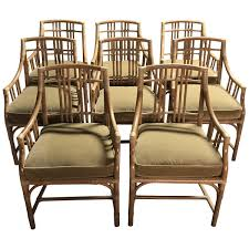 Mcguire Designer Furniture Rattan Armchairs With Velvet Cushions