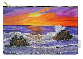 abstract ocean oil painting mist seascape carry all pouch for by wave