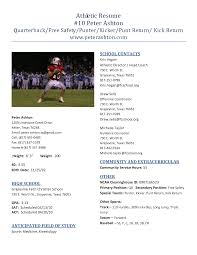 athletic resume templates