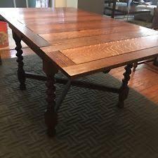 antique english carved tiger oak barley twist dining table draw leaf jacobean