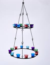 double tier tea light chandelier by bell tent boutique coloured glass