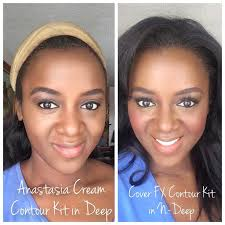 anastasia cream contour kit in deep on dark skin vs cover fx contour kit in n